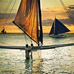 Golden Sails (Ed Kruger) Tags: ocean travel pink blue sunset red sea sky people orange sun holiday seascape reflection water sunshine silhouette yellow clouds gold evening boat fishing fisherman october asia southeastasia waves ship niceshot asians fishermen yacht horizon philippines wave sunny vessel boating sail boracay fishingboat allrightsreserved admiralty caticlan banka yachting skyphoto cargoship 2011 travelasia peopleofasia asiancities shipphoto earthasia edkruger asiancountries photoofocean cultureofasia photosofasia photosofthesky