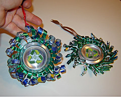 Aluminum Can Ornaments (Urban Woodswalker) Tags: christmas blue holiday metal silver circle midwest shiny recycled handmade metallic decoration environmental craft ornament curly gree sodapop thrifty reuse ecoart giftideas upcycled aluminumcans trashion urbanwoodswalker maenriquez
