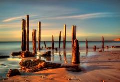 Sun on the 'sticks' (PhotoArt Images (mostly off)) Tags: sunset australia explore portwillunga portwillungajetty portwillungajettyruins aboveandbeyondlevel1 photoartimages