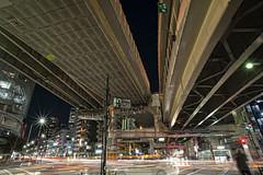 Shin Ichinohashi 1 - HDR (ryuyama36) Tags: street longexposure night tokyo nikon traffic junction  20mm  f28 hdr azabu lighttrail    shinichinohashi d700 topazadjust