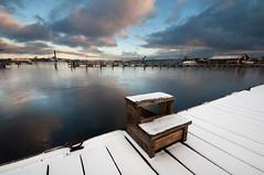 Winter harbour (- David Olsson -) Tags: blue winter snow cold ice clouds port dock nikon december cloudy sweden harbour sigma karlstad 1020mm 1020 sn vrmland hamn 2011 noboats d5000 kanikenset davidolsson ministairs kanikenshamnen 2exposuremanualblend ginordicjan12