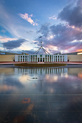 Parliment House (Dylan Farrow) Tags: new blue sunset water clouds canon reflections still colours australia government canberra 1022mm hdr pixelpost parlimenthouse flickrpost 60d