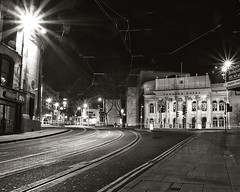 Triple-dip recession (Fishfingers & Custard) Tags: nottingham longexposure bw stars mono sony nightime 80s revolution marketstreet alpha citycentre theatreroyal tramlines alphamale upperparliamentstreet allrightsreserved theatresquare twinklies fishfingerscustard a300700 allrightsreservedworldwidepleasedonotuseanyofmyimageswithoutaskingformypermission alrightforfighting