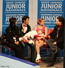 Edwards & Pang with coaches Megan Wing & Aaron Lowe (Melanie Heaney) Tags: sports action coaching figureskating icedance fistpump aaronlowe kissandcry meganwing madelineedwards zhaokaipang 2011canadians