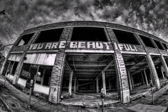 You Are Beautiful HDR BW (Bradley Nash Burgess) Tags: blackandwhite bw monochrome al birmingham nikon alabama fisheye bandw 8mm birminghamal d80 nikond80 rokinon rokinon8mm rokinon8mmfisheye
