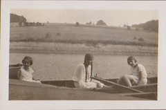 the girls in a boat (1920s) (indigo_mint) Tags: old family 1920s girls sea girl vintage river boat photo rowing margot whitedress 20er 1920er