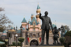 The Partners Statue in Central Plaza (Castles, Capes & Clones) Tags: california disneyland disney mickeymouse anaheim waltdisney partnersstatue mainstreetusa sleepingbeautycastle disneylandresort centralplaza