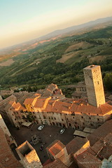 San Gimignano Downtown Birdview, Nocrop (johan.pipet) Tags: old sunset summer italy panorama tower history canon landscape golden europe cityscape sunny tuscany toscana scape nocrop palo bartos barto