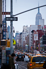 ESB Looking Down on the West Village (GDVisuals) Tags: street new york snow west building yellow photography village state cab taxi sony greenwich full empire frame a900