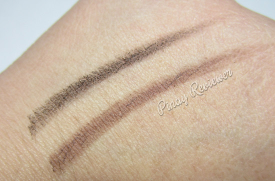 Swatches of the 2 Skinfood Black Bean Eyebrow Pencils I got - light application