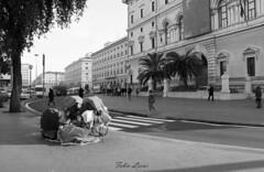 Roma terzo millennio (Leonaso) Tags: roma strada centro biancoenero clochard passanti indifferenza signora senzatetto stazionetermini poveri anziana