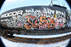 JIST (Reckless Artist) Tags: railroad art minnesota train photography graffiti paint artist cities minneapolis twin trains spray fisheye crew graff fails hc freight tanker 2012 reckless slur jist hesh