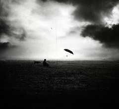Leaving (George Christakis) Tags: light dog moon white man black leave strange field night clouds umbrella leaving lights weird george alone loneliness image surrealism dream surreal manipulation imagination dreamy christakis absoluteblackandwhite truthandillusion