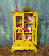 Miniature Enchanted Fairy Nature Cabinet~1:12thScale (Enchanticals~ Death in Family) Tags: wood flowers trees red wallpaper green nature glass floral yellow altered miniature oak cabinet handmade butterflies fairy fantasy hutch foundobjects collectible etsy acorns fae crystalball miniaturefurniture alteredfurniture 112th dollhouseminiatures 112thscale onetwelfthscale etsyteams homedcor flickrunited teammids enchanticals miniaturedollhousescale minitreasures enchanticalsetsy fantastyfurniture faeteamteam