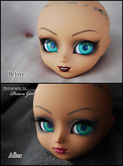 Before / After - Pullip Catwoman (-Poison Girl-) Tags: girl doll dolls makeup lips groove lip pullip batgirl poison custom commission pullips catwoman poisongirl customs faceup junplanning pullipcustom hysl pullipcatwoman pullipbatgirl