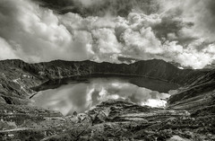 everything beautiful is far away (timsnell) Tags: blackandwhite lake reflection water clouds volcano ecuador wideangle lagoon caldera quilotoa lagunaquilotoa