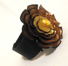 Leather corsage bracelet with flowers (julishland_) Tags: woman leather jewelry bracelet cuff onsale cuffbracelet leathercuff leatherbracelet floralbracelet womanbracelet cuffcorsage womancuff