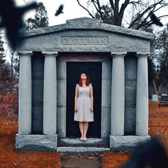 The Calling (Savannah Daras) Tags: autumn red fall feet cemetery grave graveyard birds stone forest hair death flying woods afternoon dress bare tombstone overcast redhead curly crows barren youngwoman nightgown sarahannloreth