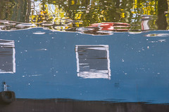 houseboat (Francis Mansell) Tags: reflection window water river boat outdoor houseboat narrowboat riverlea
