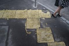 an odd mood... (f_lynx) Tags: street color wet girl yellow fun shoes crossing shadows legs russia moscow raincoat today 2x3 flynx sonya7 sonyfe282