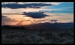 last day of graded unit... (Calamity Jade) Tags: sunset sun colour grass clouds scotland woods view sunsets hills sunrays pylons beams sunbeams hillwalking landscaps ochils scottishlandscape scottishlandscapes scottishphotographer sonynex