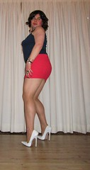 white stiletto pumps, nylon and miniskirt (Barb78ara) Tags: pumps stilettoheels miniskirt pantyhose nylon anklet nylons redskirt paintednails bluetop microskirt whitestilettos whiteheels nylonpantyhose whitepumps stilettohighheels 16cmheels