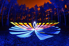 (quornflake) Tags: longexposure blue trees orange lightpainting man night stars weird woods surrey fisheye lighttrails trippy startrails