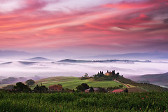god is a dj (Dennis_F) Tags: morning italien sky italy house mist green nature colors beautiful misty fog clouds sunrise landscape dawn spring san italia nebel farm sony country hill landwirtschaft natur himmel wolken sigma haus hills tuscany land belvedere cypress mansion pienza grün agriculture fullframe dslr toscana 50 valdorcia landschaft sonnenaufgang hilly cypresses bunt farben frühling morgens toskana podere dorcia hügel sigma50mm gebüsch quirico zypressen a850 festbrennweite sonyalpha sonydslr vollformat sigma5014 sigma50mmf14 トスカーナ州 тоскана sigmaobjektiv dslra850 sonya850 sonyalpha850 alpha850 tuscien