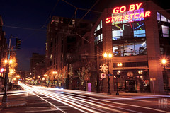 Go By Streetcar Part II (Ian Sane) Tags: street two by oregon portland lens ian lights long exposure downtown traffic district go trails images part ii sw pearl 11th streetcar streaks avenue 1740 lovejoy sane