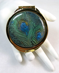 Handmade OOAK Peacock Polymer Clay Covered Compact Mirror - 2 sides (Creative Art Center) Tags: blue team feathers peacock polymerclay purse gift accessories etsy greenblue makeupmirror compactmirror pocketmirror