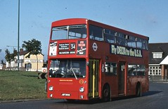 London Transport . DMS389 JGF389K . Crooked Billet Roundabout , Walthamstow , London . 15th-September-1981 . (AndrewHA's) Tags: bus walthamstow route34 daimler fleetline parkroyal londonbus londontransport crg6 dms389 jgf389k