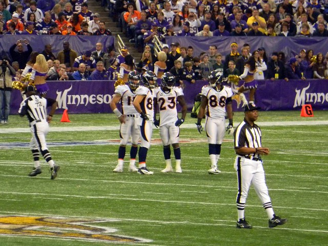 Tim Tebow, Eric Decker, Willis McGahee, and DEMARYIUS THOMAS on Mall of America Field at the Metrodome