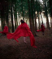 take flight (ruhkaya) Tags: trees sunset red portrait night forest flying woods surreal levitation fabric brookeshaden