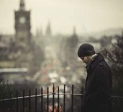 . (joannablu kitchener) Tags: winter panorama man cold scotland nikon edinburgh moody view cinematic carltonhill dylank d700
