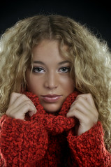 winterbeauty (carla ghysels) Tags: sexy winterbeauty redjumper gorgeousfemale curlylonghair