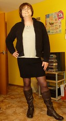 Very casual outfit... (Meg_Jones) Tags: glasses legs boots makeup tights tgirl specs trans miniskirt pantyhose opaques