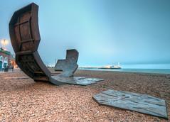 Beach Sculpture (Sean Batten) Tags: uk england sculpture beach sussex pier brighton pebbles hdr
