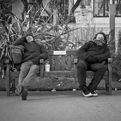Eighty Winks (SPIngram) Tags: street city blackandwhite bw london 35mm bench mono nikon candid explore 500x500 explored simoningram d300s spingram streetphotographycandidstreetportrait