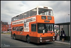 """I Can Rely On GM Buses"" (Zippy's Revenge) Tags: transport leigh busstation leyland fleetline lut greatermanchester gmbuses northerncounties lancashireunited ncme fe30 fe30agr 6948 yte585v"