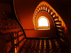 The Magic Staircase (Neal.) Tags: door light up golden scotland edinburgh magic staircase rails neal tenament