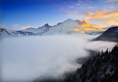 Setting into the Mist 2 (David Shield Photography) Tags: sunset sky mist mountain color fog sunrise landscape nikon explore washingtonstate mtrainier mtrainiernationalpark emmonsglacier explored bestcapturesaoi tahomapeak elitegalleryaoi