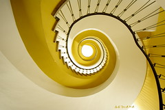 missing the sun (sediama (break)) Tags: light sun yellow architecture stairs germany deutschland licht hessen pentax sigma sunny treppe gelb staircase round architektur handrail banister 1020mm sonnig sonne rund kassel treppenhaus gelnder k20d sediama bpen4083
