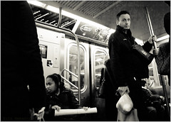 Last Stop (TheeErin) Tags: new york newyorkcity people public standing subway person metro tube tracks n railway line passengers transportation stare masstransit rider lrt weary riders tuff steady rapidtransit railline ditmars personhood broadwaylocal trolleyline ridership railrapidtransit urbantransportationservice