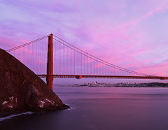 Back to the Cliff (RZ68) Tags: city bridge pink sunset red sky cliff film water skyline clouds sunrise golden evening bay kirby gate san francisco dusk near cove no marin under battery velvia headlands 6x7 provia wagner span ggnra e100 rz68
