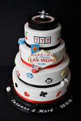 Las Vegas themed wedding cake .... (abbietabbie) Tags: wedding dice cake fruit cards lasvegas chips poker icing marzipan madeira fondant slotmachinesymbols