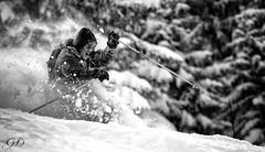 Powder Riding @ Les Arcs (guillaumedurand photography) Tags: blackandwhite bw ski nature sport montagne skiing ride noiretblanc action powder nb riding neige freeride arcs snowmountain