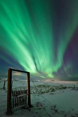 Gate to the land of Aurora Borealis - Iceland (Arnar Bergur) Tags: winter snow green night canon landscape iceland crazy highway gate aurora gras 28 arnar sland northernlights borealis 14mm norurljs rokinon 5dmkii