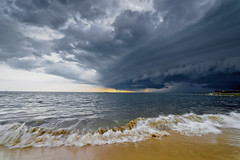 #850C9717- Sunset Storm (crimsonbelt) Tags: sunset storm beach nature rain clouds waves balikpapan melawai