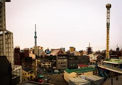 Tokyo Sky Tree, Senso-Ji temple, and Hanayashiki amusement park (1yen) Tags: travel panorama travelling japan photoshop tokyo panoramic   asakusa  hanayashiki  sensji  4exp newtokyotower  tokyoskytree