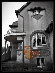 Village for Sale (World of Pjotr) Tags: urban bw orange house abandoned broken window glass grey village ramen urbanexploration scarves huis exploration glas raam oranje grijs selective scherven doel selectief
